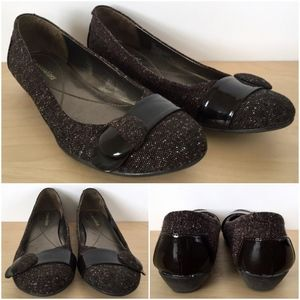 NATURALIZER Brown Black Fabric Ballet Flats Shoes